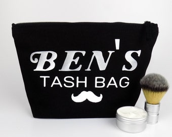 Personalised Dopp Bag Mustache Kit Toiletry Bag - Unique Birthday Present or Christmas Gift  -  Present For The Groom - Shaving Kit Bag