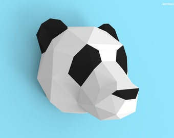 Panda Head Papercraft PDF Pack - 3D Paper Sculpture Template with Instructions - DIY Wall Decoration - Animal Trophy