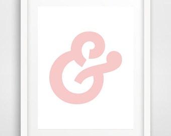 Pink ampersand, ampersand print, printable ampersand, ampersand poster, affiche scandinave, affiche enfant, INSTANT DOWNLOAD