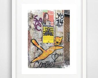 Yellow cat art, graffiti art, street art, room decor DIY, wall murals, cool room decor, poster art, modern wall art, cat print, wall prints