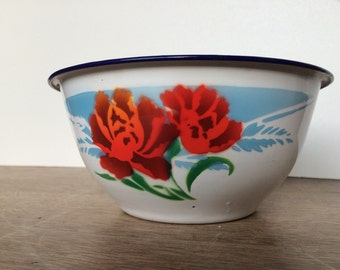 FRENCH Enamel Red Roses Flowers POT DISH mid century 1950