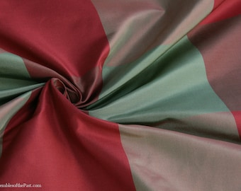 "Silk Taffeta Fabric - Plaid Green/Red/Brown - 100% Silk - by the yard - 54"" WIDE - EP Silk #30"