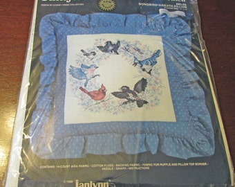 """Janlynn Counted Cross Stitch Kit Songbird Wreath Pillow 80-06 Ruffle Pillow Blue Red Cardinal Blue Bird 14 """" x 14 """""""