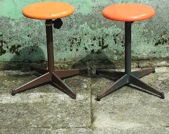 French orange adjustable stool
