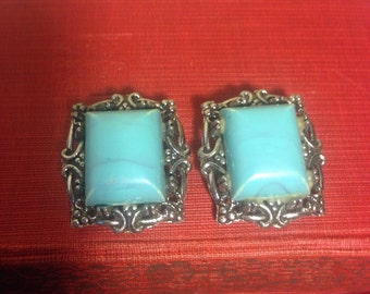 1950's Faux Turquoise Earclips