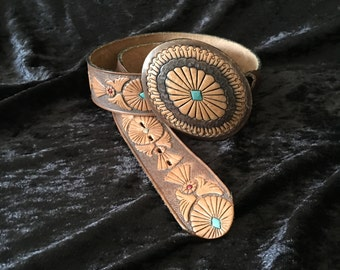 Tooled Leather Belt and Buckle