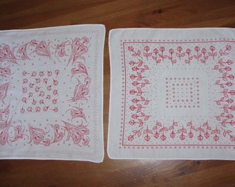 2 Vintage HANDKERCHIEF  flowers HANKY  retro SET of 2 handkerchiefs