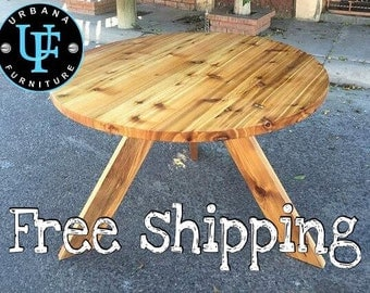 """48""""reclaimed wood round dining table"""