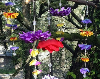Beautiful handmade flower baby mobile or room decor. Looks gorgeous hanging outdoors as well!
