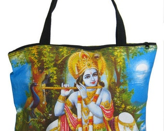 Krishna Screen Printed Tote Bag