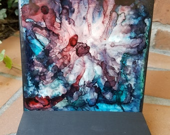 Alcohol Ink, Painting, Tile, Abstract, Blues, Reds, White
