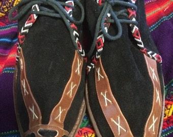 Vintage suede tie women's moccasin sz.7.5 /moccasin bo ho /hippie/ free people style