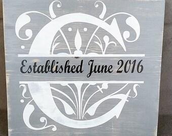 Rustic Meets Modern Distressed Split Monogram Wood Sign - Great for Weddings, Engagements, Anniversaries & Housewarmings!