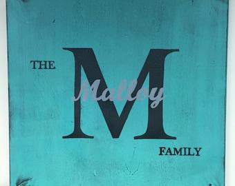 Monogram sign, name sign, wedding sign, family sign,