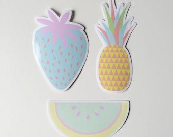 SALE / Pastel Fruit stickers, vinyl stickers, cute pastel stickers, strawberry sticker, watermelon, pineapple sticker, kawaii sticker set