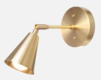 Solid Brass Shade Sconce Light - Adjustable, Articulating, Modern, Minimal, Mid-Century, Industrial, Period Lighting, Vintage