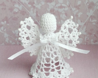 Sale Lace Angel Christmas Angel chrochet ornament beaded angel beaded ornament, lace angel