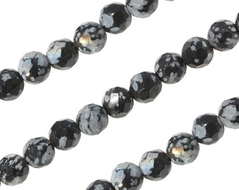 16 IN Strand 4 mm Snowflake Obsidian Round Faceted Gemstone Beads (SFJRNF0004)