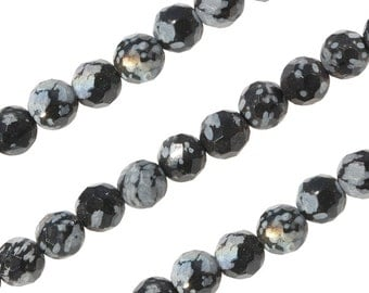 1 Strand 4 mm Snowflake Obsidian Round Faceted Gemstone Beads (SFJRNF0004)
