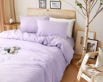 Lavender purple duvet cover, purple bedding in natural linen, twin bedding, twin duvet cover,