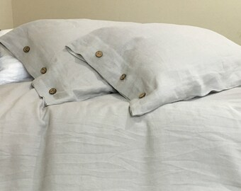 Stone Grey Duvet Cover with Wood Button Closure Handmade in Natural linen Flax, Neutral color ,linen bedding