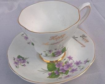 Royal Grafton Fine Bone China Teacup and Saucer - Happy Anniversary