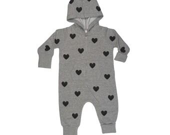 Baby onesie hearts print