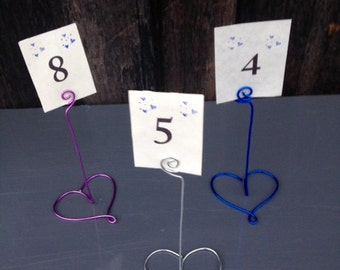 Heart Wire Table Number Holders, Table Number Holders, Wire Table Number Holders, Wedding Place Card Holders,