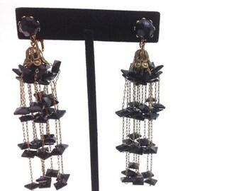 SummerSALE 50s Black Glass Chandelier Earrings   Black Glass Gold Chain Clip Earrings   Evening Chandelier Earrings