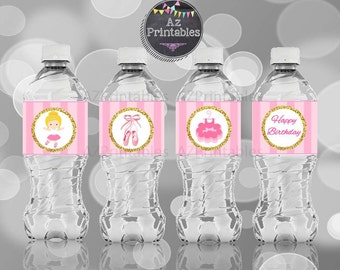 Printable water label, ballerina, ballerina girl, jpg, digital print, instant download, 300dpi, cute,diy