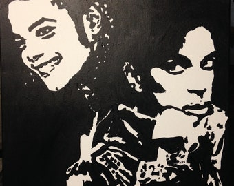 Table painting THE Prince AND Michael side akoun