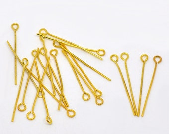 100 Eye Pins 30mm x 0.7mm Gold Plated 21 Gauge Jewellry Findings J01660