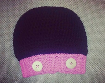 Reduced Price!!! Crocheted Minnie Mouse Inspired Slouchy Beanie! Sizing for Child/Adult Size Small! FREE SHIPPING too!