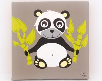 kids painting kids wall art black and white panda baby canvas nursery - Animal Painting For Kids