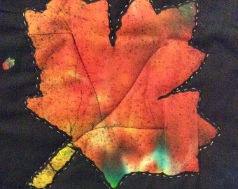 Batik Table runner/wall hanging, autumn leaves with metalic hand stitching, fall Thanksgivng decor
