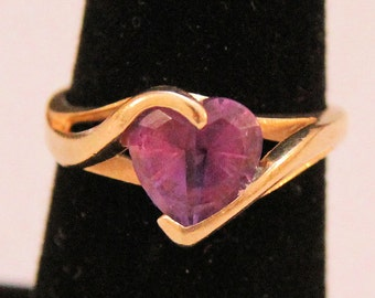 Estate 14K Yellow Gold Heart Shaped Amethyst Bypass Ring 3.5 Grams Size 5.75 Mother's Day