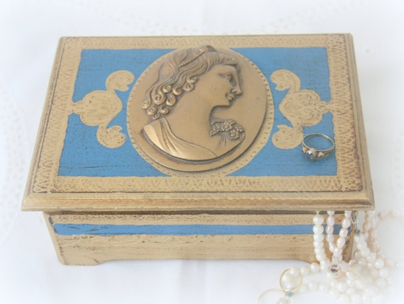 Vintage Wooden Music box, Jewelry Box, Textured Roman Woman's Profile Decor