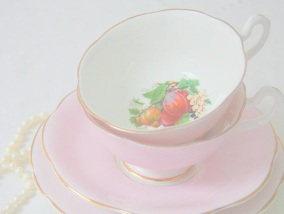 Set of Two Vintage Springfield Bone China Pink Tea Trio, Cup and Saucer and Pastry Plate, Fruit Decor, England