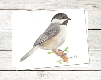 Chickadee Note Cards, 6 x 4.5, Original Art, Watercolor Painting, Bird Cards, Blank Note Cards, Nature Cards, Wildlife Cards, Thank You Card