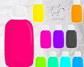 Water Bottle Clipart in Bright Colours