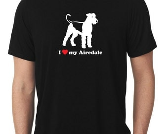 I Love My Airedale T-Shirt terrier T374