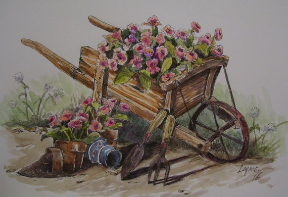 Garden Wheelbarrow,14x17 Original Watercolor,One of a Kind,Not a Print,Free Shipping Code SKYE2