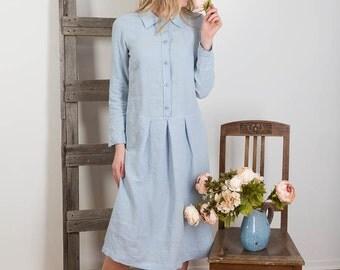 Linen Shirt Dress, Linen Blue Long Dress, Light Blue Linen Dress,  Long Sleeve Dress,  Loose Fit Dress ,  Linen Womens Dress Handmade