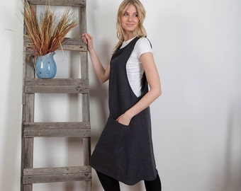 Linen Tunic Dress Overalls   Washed Linen Summer Pinafore  Artist Smock   Linen Tunic Sleeveless Linen Dress Made to Order  Plus Size