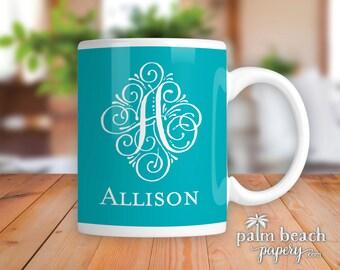Seaspray Monogram Ceramic Mug - Personalized Coffee Cup with Script Single Initial - Custom Printed Mug - Birthday, Wedding or Shower Gift