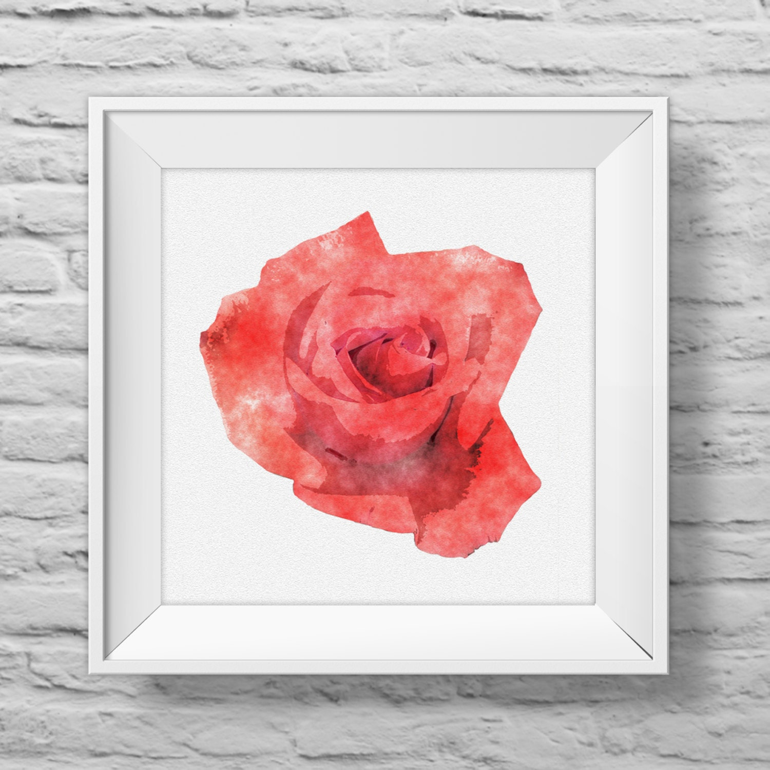 ROSE IN CORAL unframed square art print inspirational nature