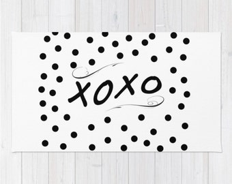 Area Rug XOXO Black and White Polka Dots Love Quote Typography Floor Rug Throw Woven Rectangle Modern Home Decor