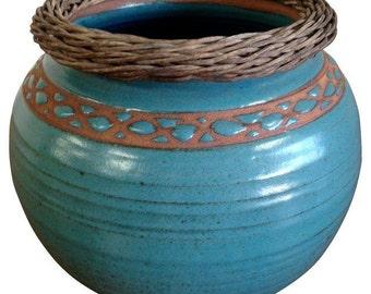 Weaved Wood And Teal Ceramic Vessel