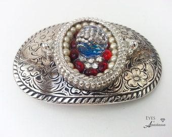 Woman's belt buckle, Silver, Western, Bling, Swarovski, Austrian crystal, Vintage pearls, Boho, Free shipping