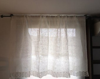 Linen Curtains Lace Curtains Shabby Chic Curtains Natural Linen Curtains  Kitchen Curtains Living Room Curtains French